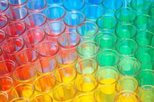 Multi-coloured chemical samples in glassesの写真素材 [FYI03638507]