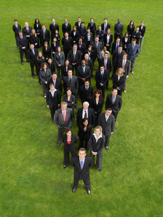 Large group of business people standing in triangle formatioの写真素材 [FYI03638638]