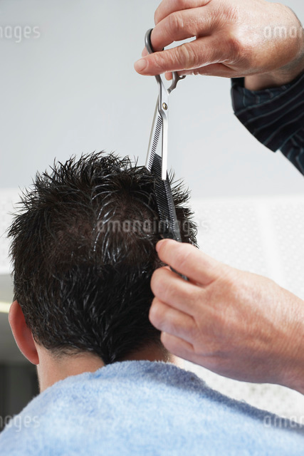 Barber cutting mans hair in barber shop close-upの写真素材 [FYI03638752]