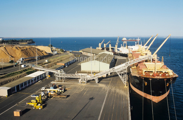 Woodchip being loaded on to bulk carrier ship for exportの写真素材 [FYI03638994]