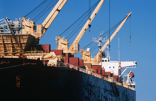Woodchip being loaded on to bulk carrier ship for exportの写真素材 [FYI03638999]