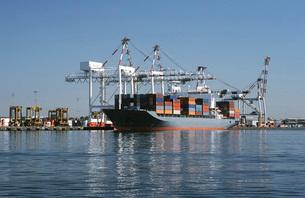 Container ship in dock Melbourne Australiaの写真素材 [FYI03639032]