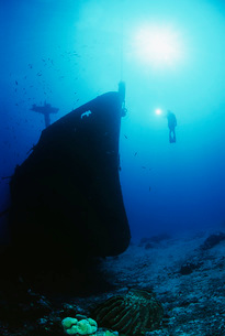 Diver exploring bow of sunken fishing trawlerの写真素材 [FYI03639416]
