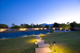 Illuminated lawn and tennis courtの写真素材 [FYI03639737]