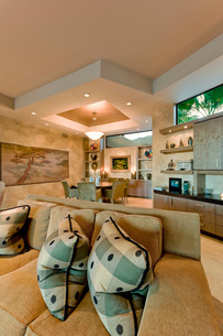 Contemporary living room dining room in the backgroundの写真素材 [FYI03639751]
