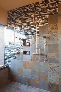 Contrasting tiles in wet room with double shower headの写真素材 [FYI03639981]