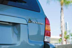 Close up of sing on hybrid carの写真素材 [FYI03640473]