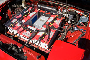 Close up of battery in plug-in hybrid carの写真素材 [FYI03640474]