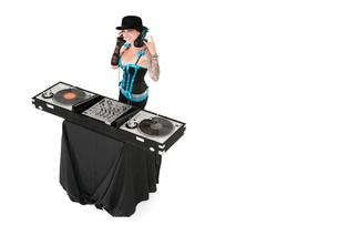 Portrait of female DJ gesturing rock sign over white backgroの写真素材 [FYI03640794]
