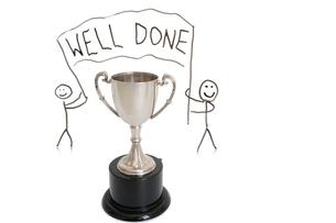 Award for winning over white backgroundの写真素材 [FYI03640842]
