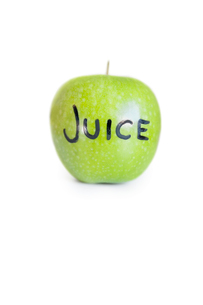 Close-up of text on a granny smith apple over white backgrouの写真素材 [FYI03640847]