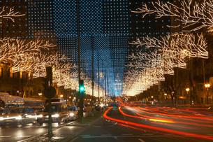 Traffic Light Trails on Decorated Streetの写真素材 [FYI03641509]