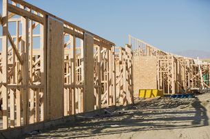 Wooden house constructionsの写真素材 [FYI03641664]