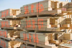 Stack of wooden planksの写真素材 [FYI03641667]