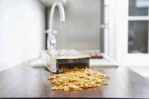 Spilled cereal on kitchen counterの写真素材 [FYI03641971]