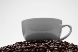 Cup of coffee on heap of coffee beansの写真素材 [FYI03642776]