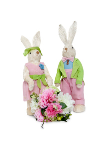 Portrait of stuffed Rabbit couple standing together with floの写真素材 [FYI03643073]
