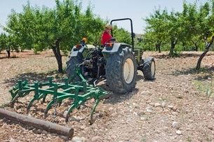 Farmer ploughs olive grove in Murciaの写真素材 [FYI03643341]