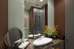 Marble surround wash basin in California homeの写真素材 [FYI03643455]