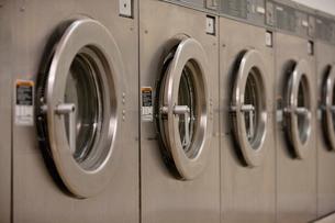 Row of self-service clothes dryer's doorの写真素材 [FYI03644933]