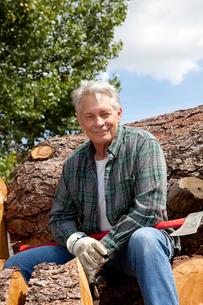 Portrait of smiling senior man sitting on logsの写真素材 [FYI03646133]