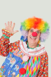 Portrait of cheerful senior male clown waving hand over grayの写真素材 [FYI03646281]
