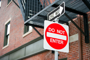Do Not Enter and One Way signの写真素材 [FYI03646798]