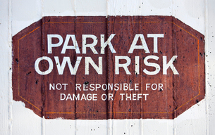 Park at Own Risk signの写真素材 [FYI03646812]