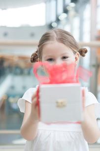 Young girl handing present towards cameraの写真素材 [FYI03646935]