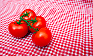 Red Vine tomatoes against red and white chequered clothの写真素材 [FYI03647094]
