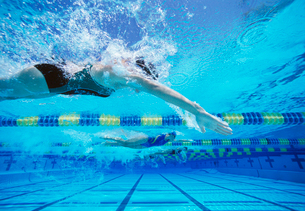 Four female swimmers racing together in swimming poolの写真素材 [FYI03647284]