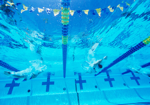 Underwater view of professional participants racing in poolの写真素材 [FYI03647287]