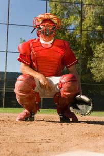 Baseball catcher crouching on baseball field giving hand sigの写真素材 [FYI03647352]