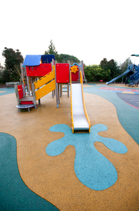 Wide view of slide and painted splash at baseの写真素材 [FYI03648973]