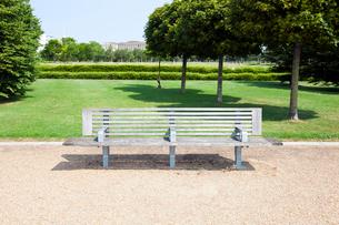 Wooden bench in London Parkの写真素材 [FYI03649139]