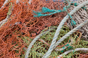 Close-up view of fishing rope and netsの写真素材 [FYI03649350]