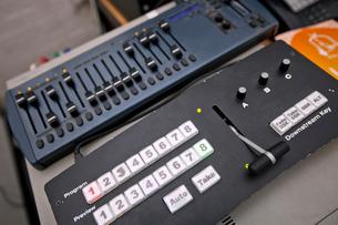 Close-up of sound recording equipment in television studioの写真素材 [FYI03649386]