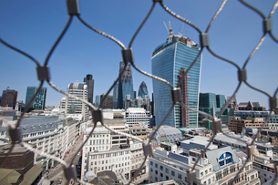 City of London Behind wire net at the top of the Monument, Londonの写真素材 [FYI03649401]