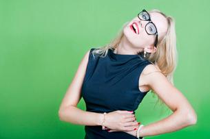 Sexy blonde woman wearing eye wearの写真素材 [FYI03649445]