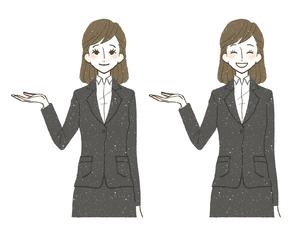 スーツ-女性-笑顔-案内のイラスト素材 [FYI03649565]