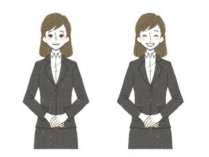 女性-スーツ-笑顔-上半身のイラスト素材 [FYI03649566]
