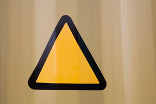 Close-up of warning triangleの写真素材 [FYI03649766]