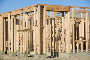 Wooden structure on construction siteの写真素材 [FYI03650150]