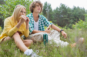 Young hiking couple eating sandwiches while relaxing in fieldの写真素材 [FYI03651676]