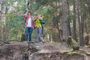 Hiking couple using binoculars in forestの写真素材 [FYI03651685]
