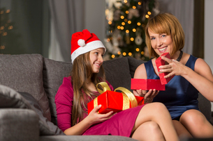 Portrait of happy woman giving Christmas present to daughter at homeの写真素材 [FYI03651738]