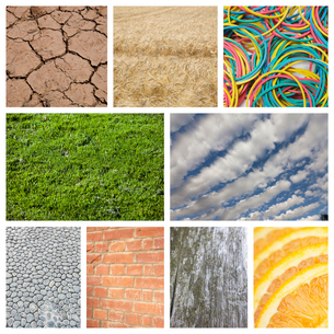 Collage of nature with brick wall and rubber bandsの写真素材 [FYI03652723]