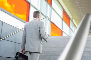 Rear view of middle aged businessman walking up stairs in railroad stationの写真素材 [FYI03652938]