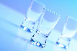 Studio shot of vodka glassesの写真素材 [FYI03653645]