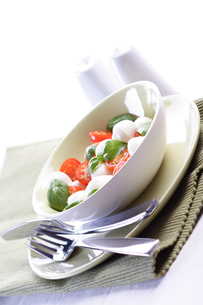 Studio shot of tomato and mozarella saladの写真素材 [FYI03653655]